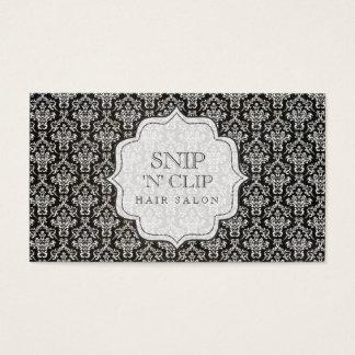 Black & White Vintage Damask Hair Stylist Fashion Business Card