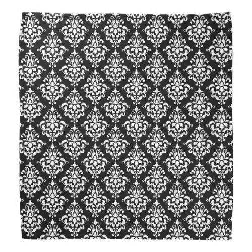 Black White Vintage Damask Pattern 1 Bandana