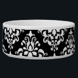 """Black White Vintage Damask Pattern 1 Bowl<br><div class=""""desc"""">Chic,  black and white vintage damask pattern is a perfect gift for her. An elegant,  stylish,  black damask pattern template which you can further customize and personalize with your name or monogram initial to create your own unique design.</div>"""