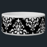 "Black White Vintage Damask Pattern 1 Bowl<br><div class=""desc"">Chic,  black and white vintage damask pattern is a perfect gift for her. An elegant,  stylish,  black damask pattern template which you can further customize and personalize with your name or monogram initial to create your own unique design.</div>"