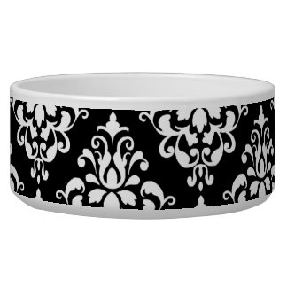 Black White Vintage Damask Pattern 1 Bowl