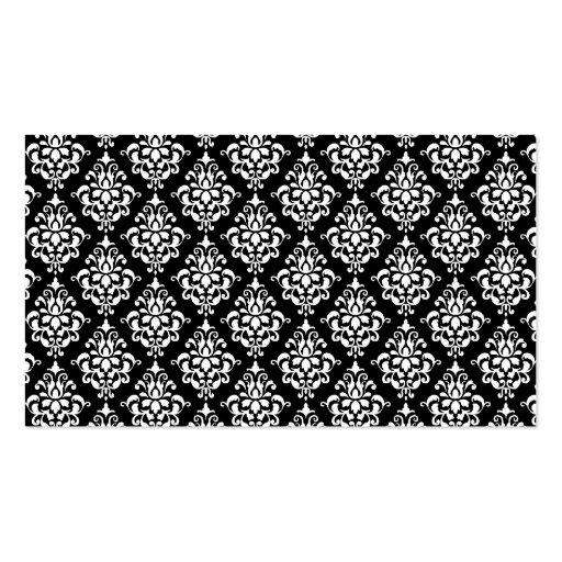 Black White Vintage Damask Pattern 1 Business Card
