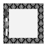 Black White Vintage Damask Pattern 1 Dry Erase Whiteboards