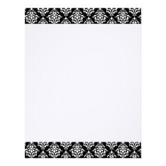 Black White Vintage Damask Pattern 1 Letterhead