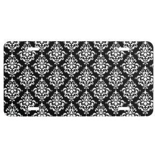 Black White Vintage Damask Pattern 1 License Plate