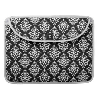 Black White Vintage Damask Pattern 1 MacBook Pro Sleeves