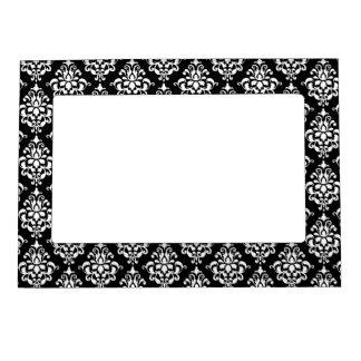Black White Vintage Damask Pattern 1 Picture Frame Magnets