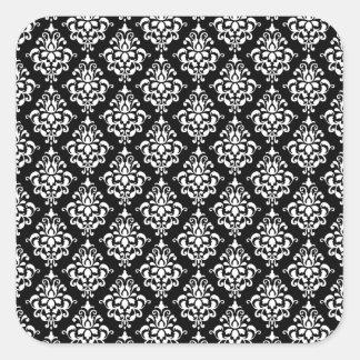 Black White Vintage Damask Pattern 1 Square Stickers