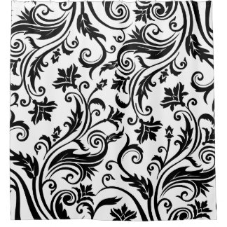 Black And White Floral Design Shower Curtains   Zazzle