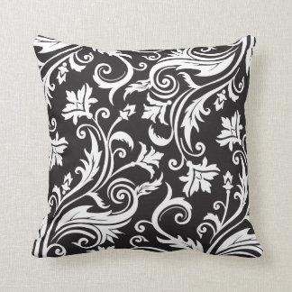 Black White Vintage Damask Pattern Throw Pillow