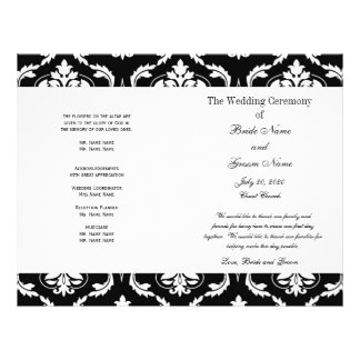 "Black White Vintage Damask Wedding Program 8.5"" X 11"" Flyer"