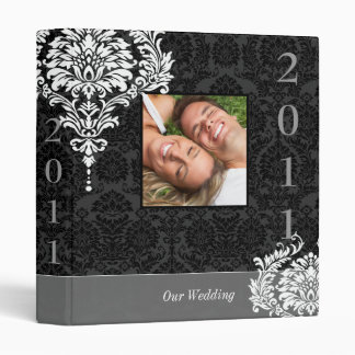 Black & White Vintage Damask Your Photo Wedding Binder