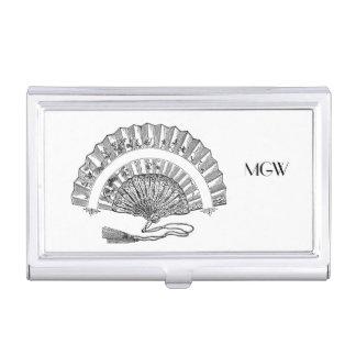 Black White Vintage Fashion Woman's Fan Monogram Business Card Holder