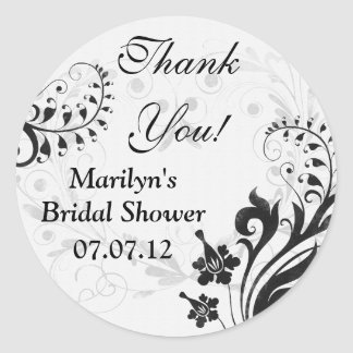 Black White Vintage Floral Bridal Shower Thank You Classic Round Sticker