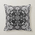 Black & White Vintage Floral Damask Pattern 2 Pillow