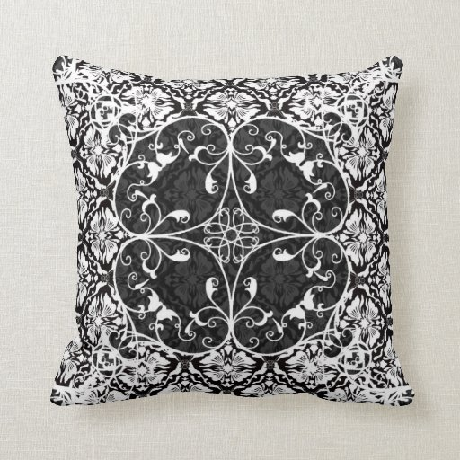 Damask Throw Pillows Black White : Black & White Vintage Floral Damask Pattern 2 Throw Pillow Zazzle