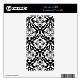 Black & White Vintage Floral Damask Pattern Decals For iPhone 4S