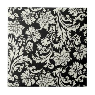 Black & White Vintage Floral Damask  Pattern Tile