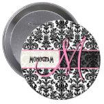 Black & White Vintage Floral Damasks 4 Inch Round Button