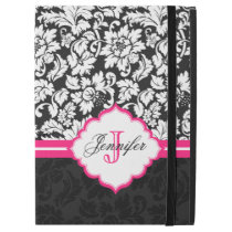 "Black White Vintage Floral Damasks Pink Stripe iPad Pro 12.9"" Case"
