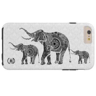 Black & White Vintage Floral Elephant-Monogram Tough iPhone 6 Plus Case