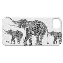 Black & White Vintage Floral Elephant-Monogram iPhone 5 Covers