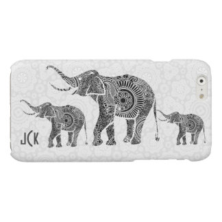 Black & White Vintage Floral Elephant-Monogram Glossy iPhone 6 Case