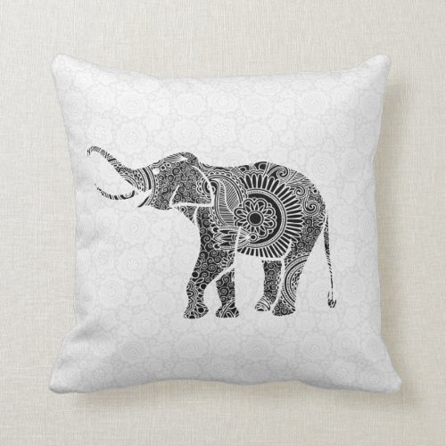 Black & White Vintage Floral Elephant-Monogram Throw Pillow
