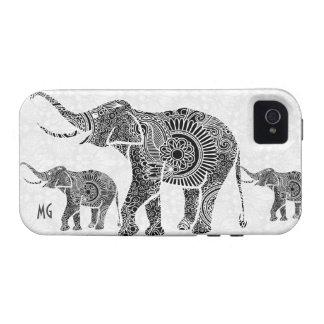 Black & White Vintage Floral Elephant-Monogram Vibe iPhone 4 Covers
