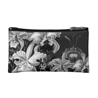 Black&White Vintage Flowers Makeup Bag