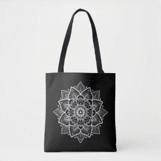 Black & White Vintage Lace Mandala Circle Design Tote Bag