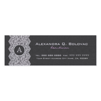 Black & White Vintage Linen & Lace Double-Sided Mini Business Cards (Pack Of 20)