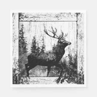 Black White Vintage Look Stag Deer Nature Art Paper Napkin