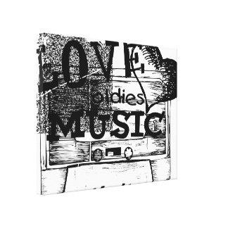 Black, White Vintage Love oldies music Canvas Stretched Canvas Print