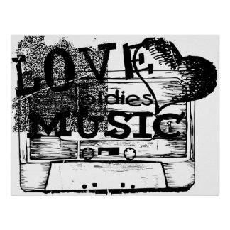 Black, White Vintage Love oldies music Poster