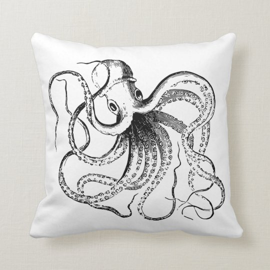 Black & White Vintage Octopus & Nautical Stripes Throw Pillow