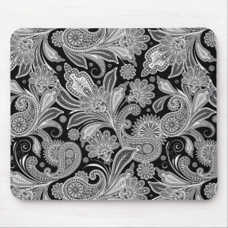 Black & White Vintage Ornate Paisley Mouse Pads