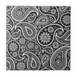 "Black &amp; White Vintage Paisley Damask Pattern Ceramic Tile<br><div class=""desc"">Black and white ornate vintage paisley damask pattern Available on other products.</div>"