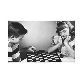 Black white vintage photo children playing game canvas prints