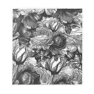 Black&White Vintage Roses Note Pad