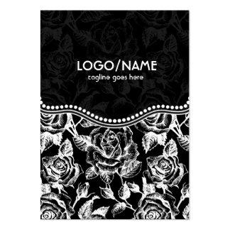Black & White Vintage Roses Pattern-Customized Large Business Card
