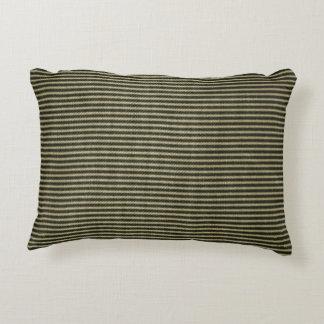 Black White Vintage Ticking Pattern Decorative Pillow