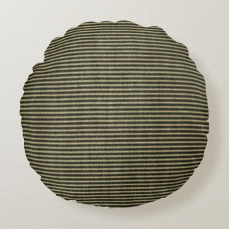 Black White Vintage Ticking Pattern Round Pillow