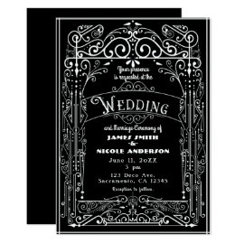 Black & White Vintage Victorian Deco Wedding Card