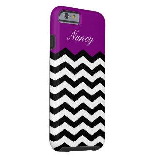 Black White Violet Purple Chevron Custom Monogram Tough iPhone 6 Case