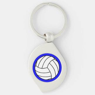 Black/White Volleyball Ball on Blue Keychain