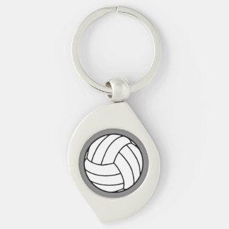 Black/White Volleyball Ball on Gray Keychain