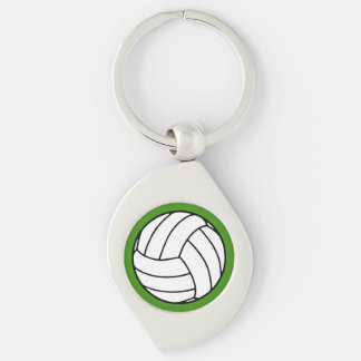 Black/White Volleyball Ball on Green Silver-Colored Swirl Metal Keychain