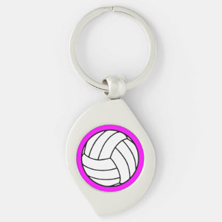 Black/White Volleyball Ball on Pink Keychain