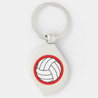Black/White Volleyball Ball on Red Keychain